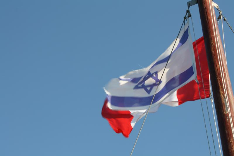Sea of Galile_Israel and Canada flags